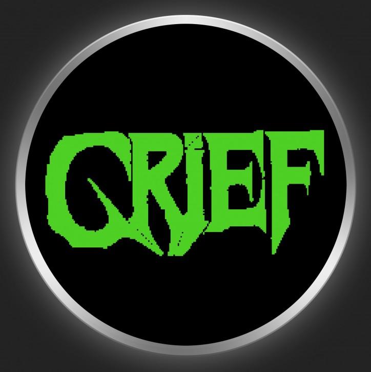 GRIEF - Green Logo On Black Button