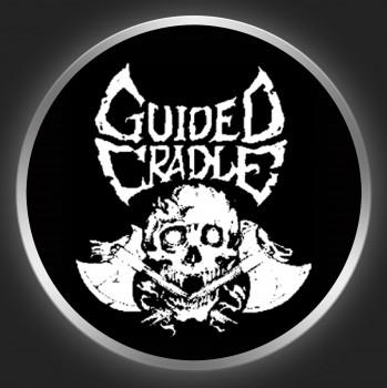 GUIDED CRADLE - White Logo + Skull On Black Button