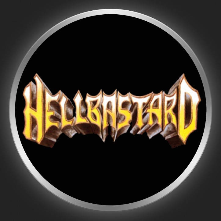 HELLBASTARD - Yellow Logo On Black Button