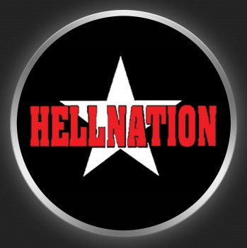 HELLNATION - Red Logo + Star On Black Button