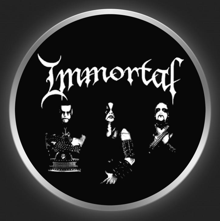 IMMORTAL - White Logo + Band Photo On Black Button
