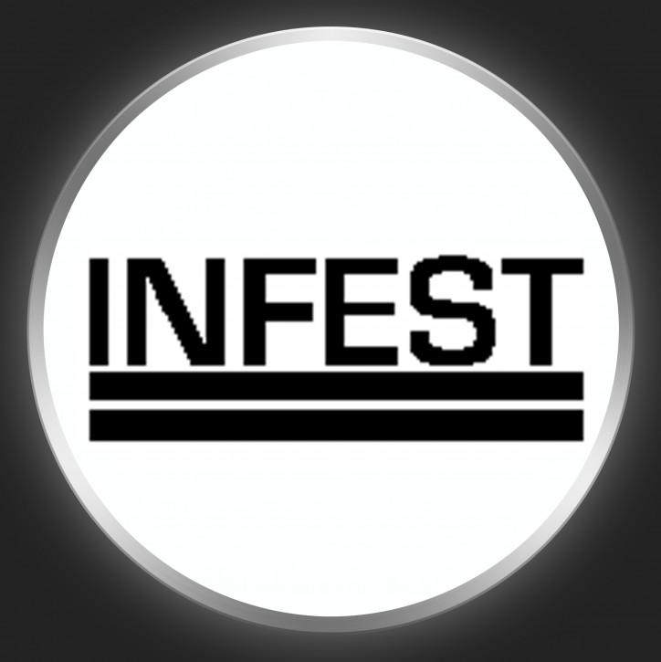 INFEST - Black Logo On White Button