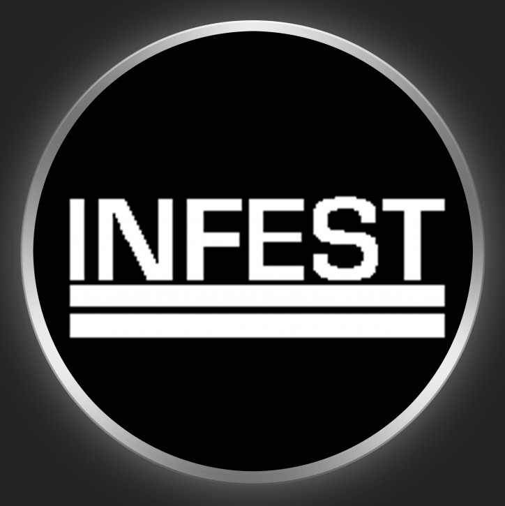 INFEST - White Logo On Black Button