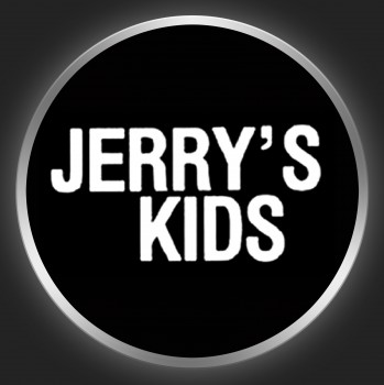 JERRY´S KIDS - White Logo On Black Button