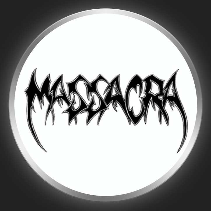 MASSACRA - Black Logo On White Button