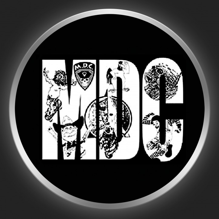 M.D.C. - White Logo On Black Button