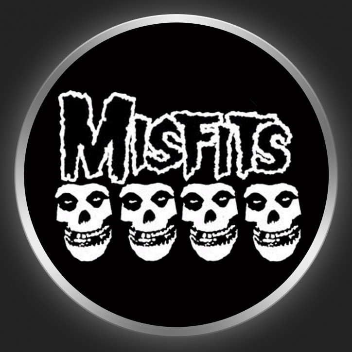 MISFITS - Logo + Skulls Button