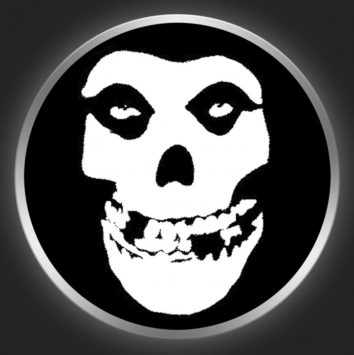 MISFITS - Skull On Black Button