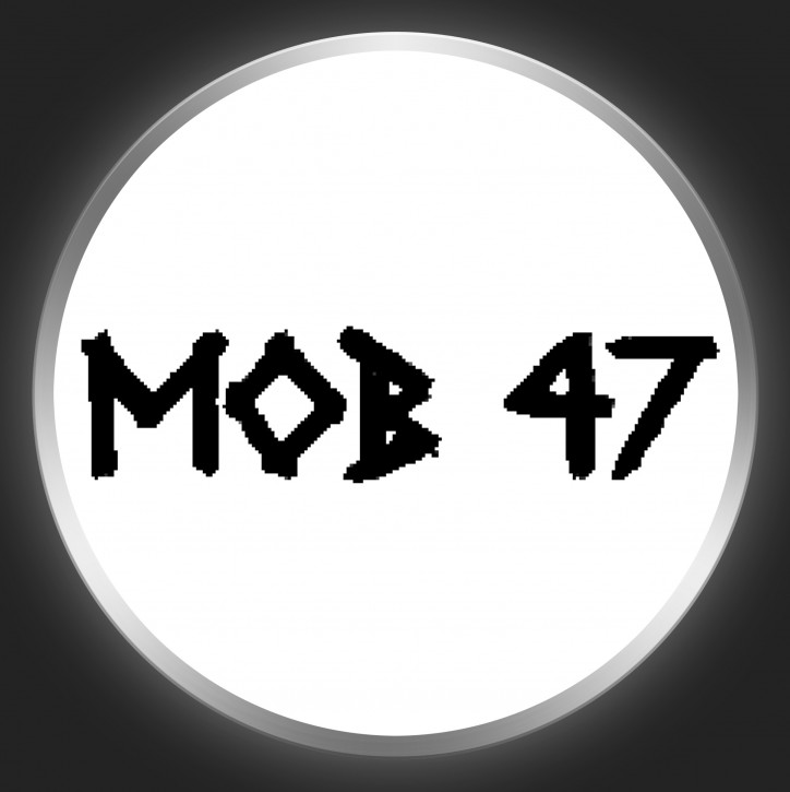 MOB 47 - Black Logo On White Button