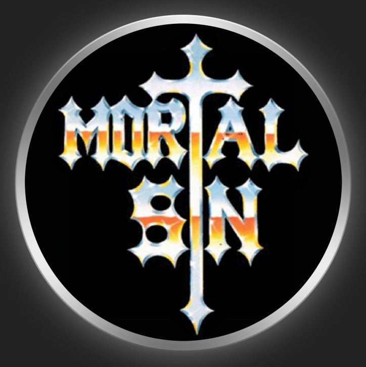MORTAL SIN - Metallic Logo On Black Button