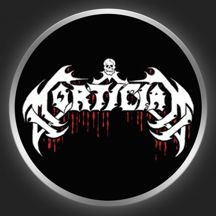 MORTICIAN - White Logo On Black Button