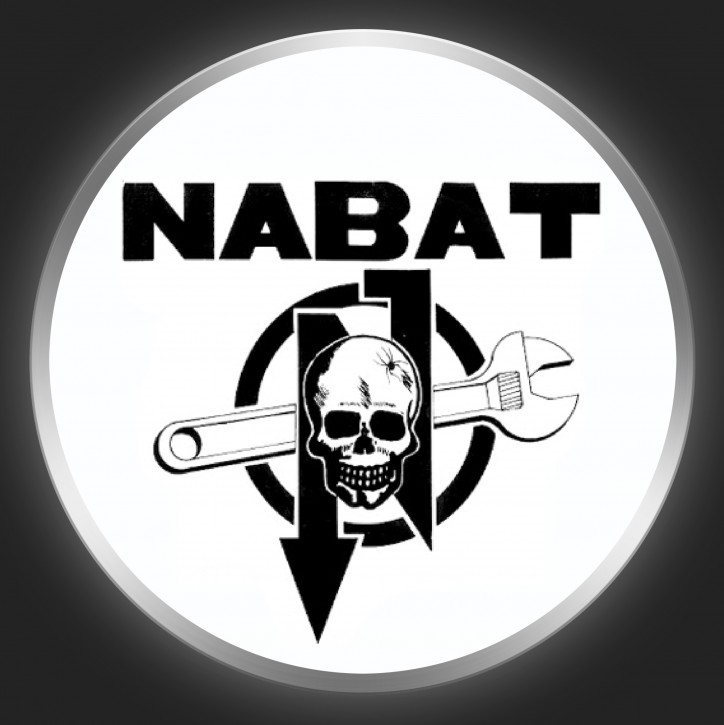 NABAT - Black Logo On White Button