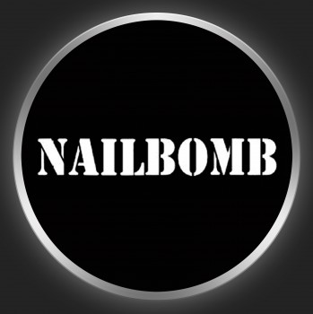 NAILBOMB - White Logo On Black Button