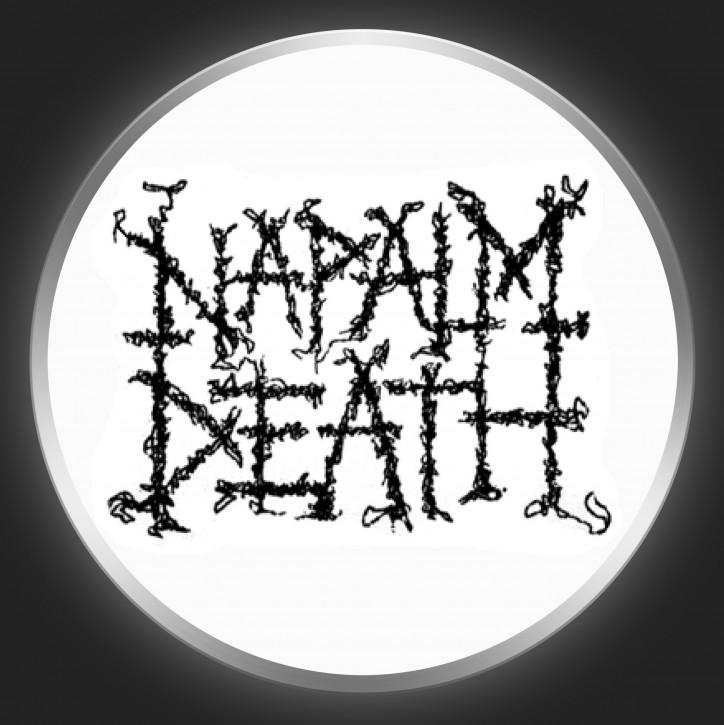 NAPALM DEATH - Black Logo On White Button