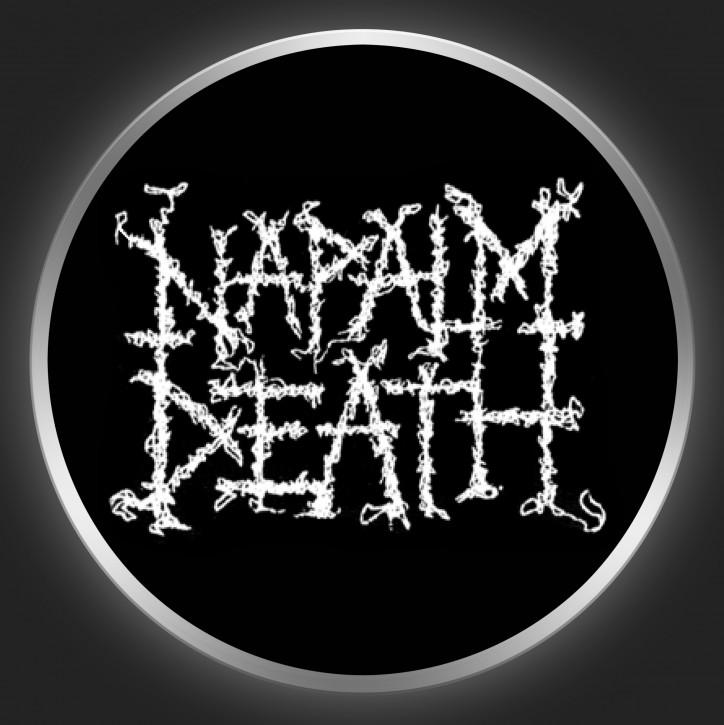 NAPALM DEATH - White Logo On Black Button