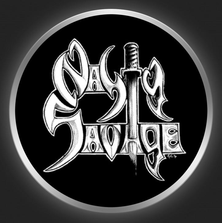 NASTY SAVAGE - White Logo On Black Button