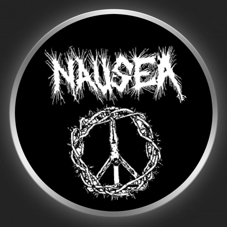 NAUSEA (NY) - White Logo And Cross Button