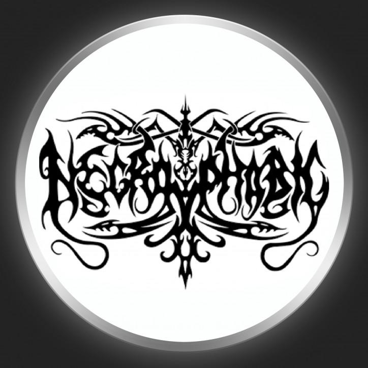 NECROPHOBIC - Black Logo On White Button