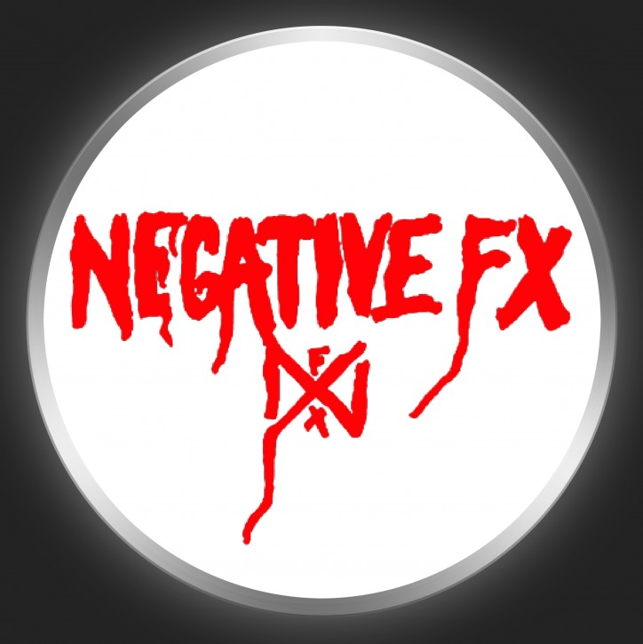 NEGATIVE FX - Red Logo On White Button