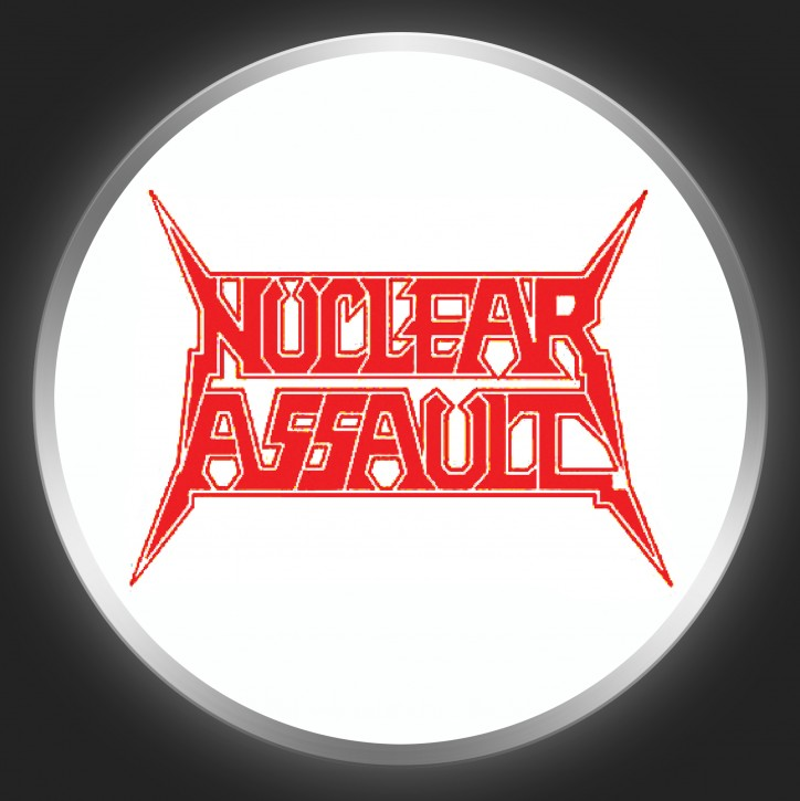 NUCLEAR ASSAULT - Red Logo On White Button
