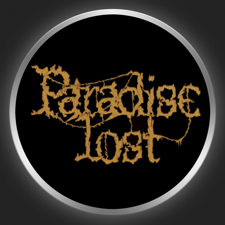 PARADISE LOST - Brown Logo On Black Button