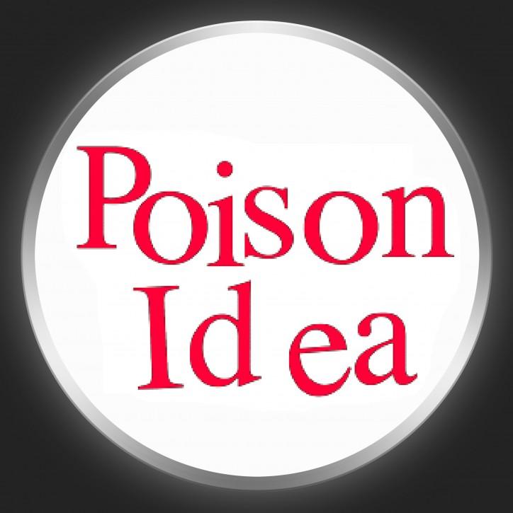 POISON IDEA - Red Logo On White Button