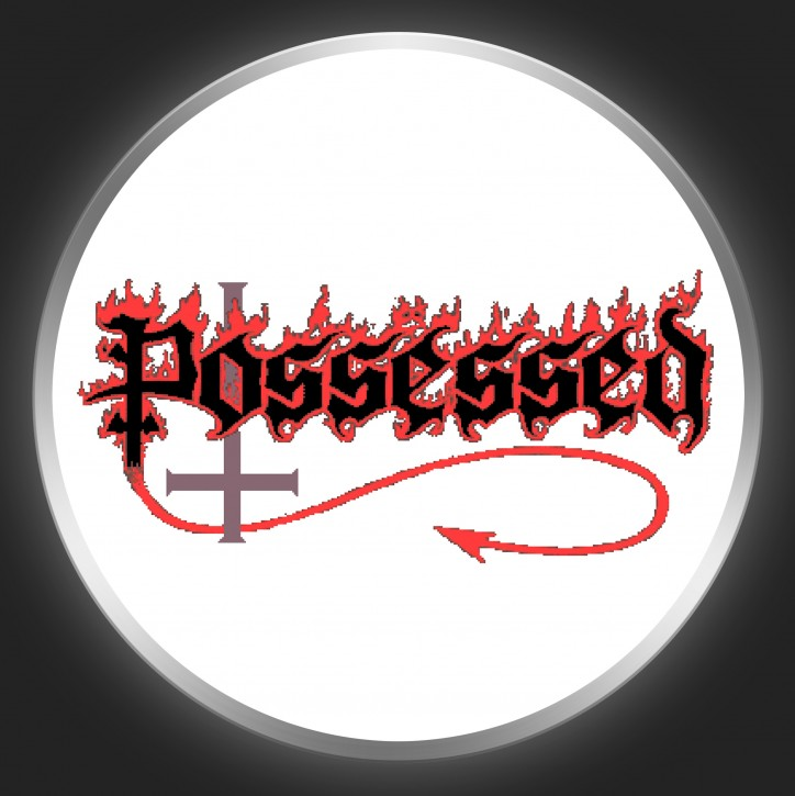 POSSESSED - Logo On White Button