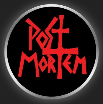 POST MORTEM - Red Logo On Black Button