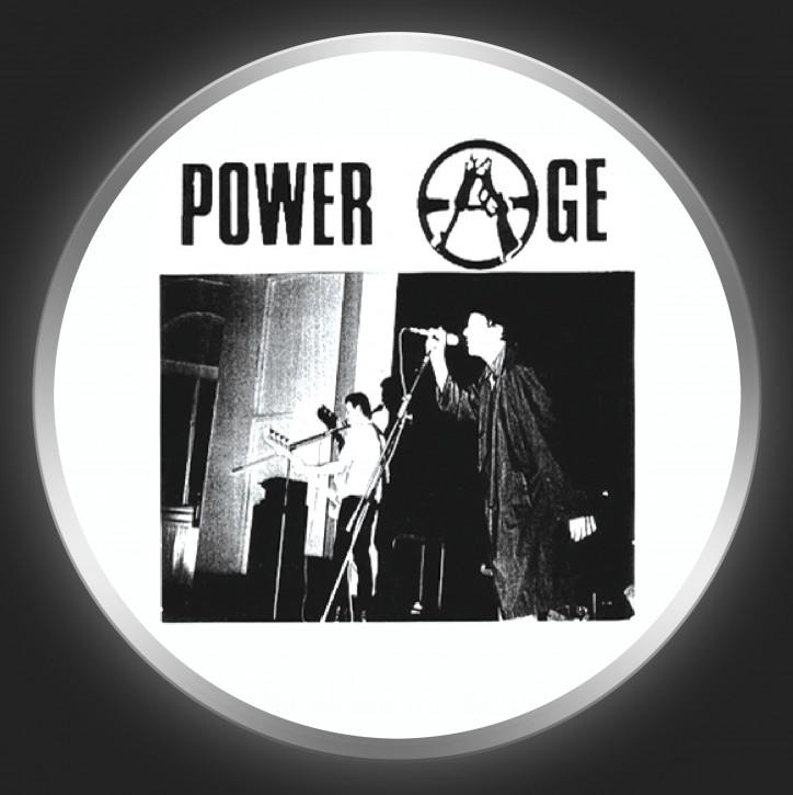 POWER AGE - Black Logo + Band Photo On White Button