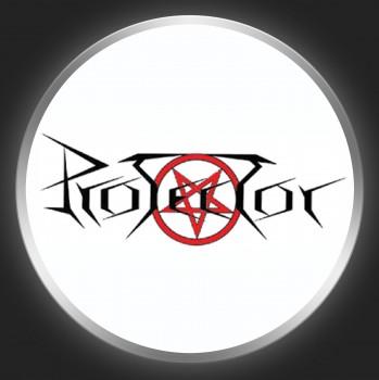 PROTECTOR - Black Logo On White Button