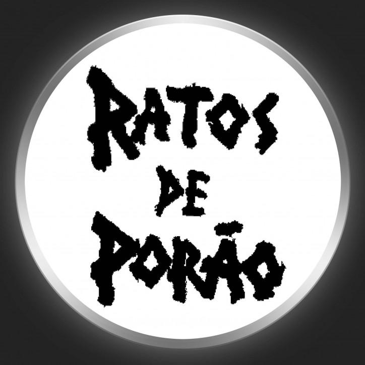 RATOS DE PORAO - Black Logo On White Button