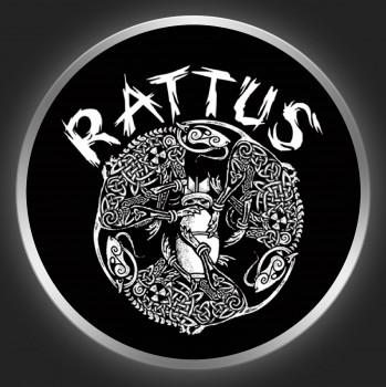 RATTUS - White Logo 2 On Black Button