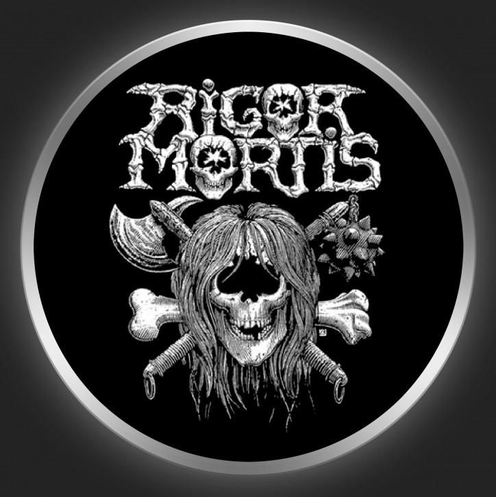 RIGOR MORTIS - Logo + Skull On Black Button