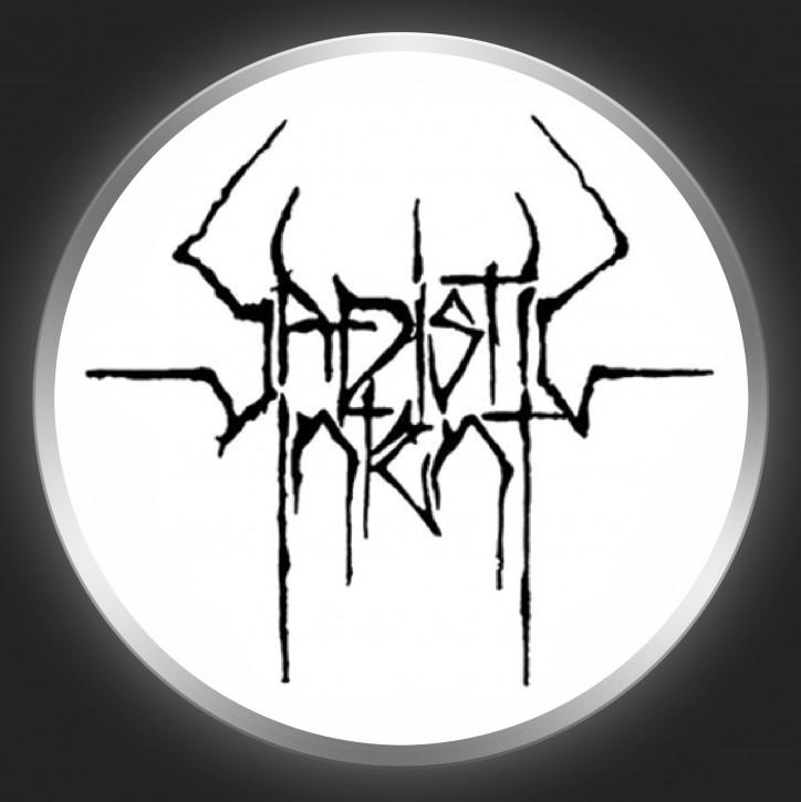 SADISTIC INTENT - Black Logo On White Button