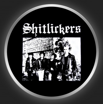 SHITLICKERS - White Logo + Band Photo On Black Button