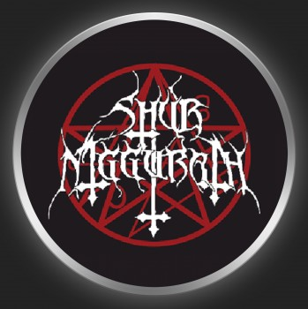 SHUB NIGGURATH - White Logo + Pentagram On Black Button