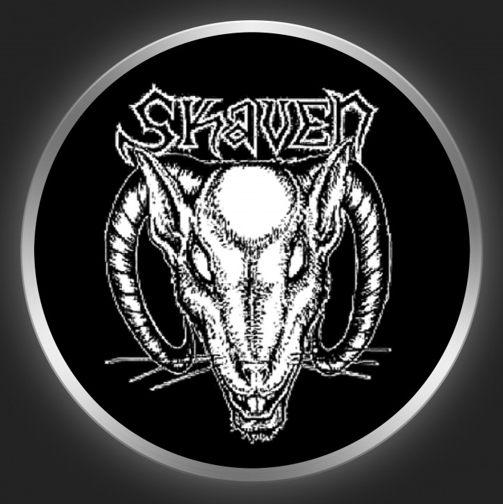 SKAVEN - White Logo + Rathead On Black Button