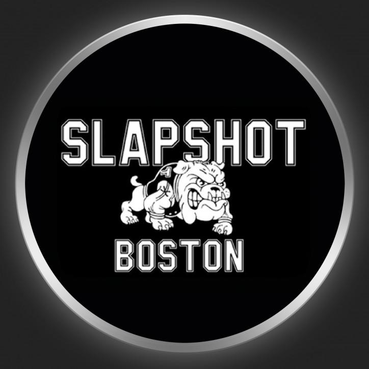 SLAPSHOT - White Logo + Bulldog On Black Button