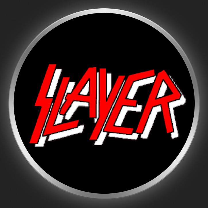 SLAYER - Red Logo On Black Button