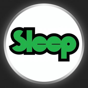 SLEEP - Green Logo On White Button