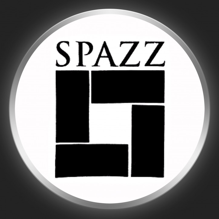 SPAZZ - Black Logo On White Button