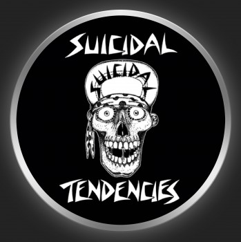 SUICIDAL TENDENCIES - White Logo + Skullface On Black Button