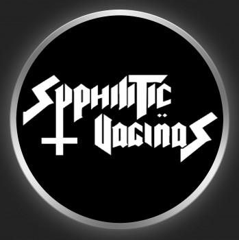 SYPHILITIC VAGINAS - White Logo On Black Button