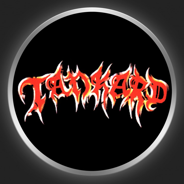 TANKARD - Red Logo On Black Button