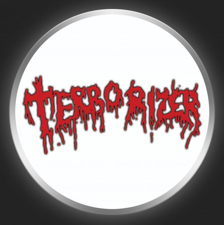 TERRORIZER - Red Logo On White Button