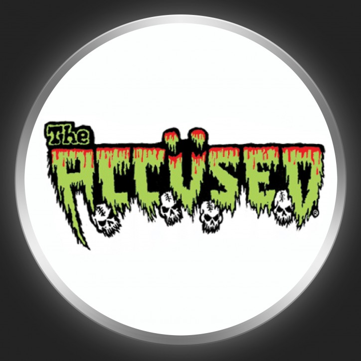 THE ACCÜSED - Green Logo On White Button