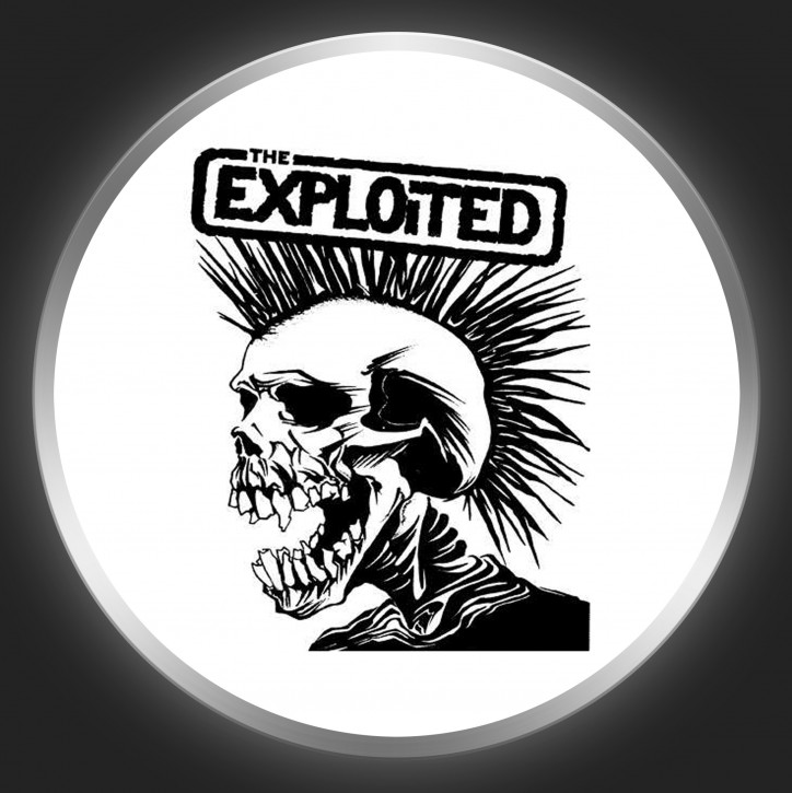 THE EXPLOITED - Black Logo + Skull On White Button
