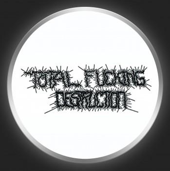 TOTAL FUCKING DESTRUCTION - Black Logo On White Button