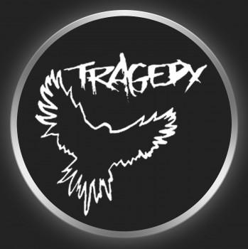 TRAGEDY - White Logo + Raven On Black 2 Button