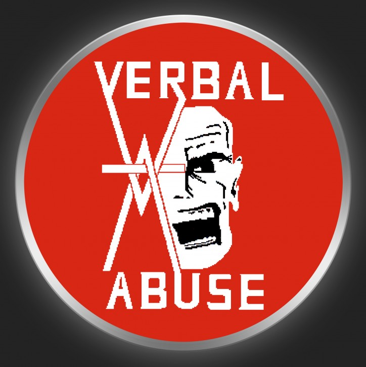 VERBAL ABUSE - White Logo On Red Button